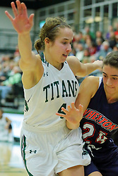 06 December 2017:  Rebekah Ehresman defends Maggie Dansdill during an NCAA women's basketball game between the Wheaton Thunder and the Illinois Wesleyan Titans in Shirk Center, Bloomington IL