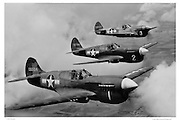 P-40Es flying in formation, WWII