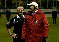 Photo: Daniel Hambury.<br />Luton Town v Cardiff City. Coca Cola Championship. 14/02/2006.<br />Referee Andy Woolmer is all smiles at the end of the game despite as controversial finish.