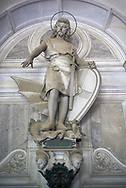 Pictures of the stone sculpture of St George and the dragon on the Pastorino Family Tomb, 1881. The monumental tombs of the Staglieno Monumental Cemetery, Genoa, Italy .<br /> <br /> Visit our ITALY PHOTO COLLECTION for more   photos of Italy to download or buy as prints https://funkystock.photoshelter.com/gallery-collection/2b-Pictures-Images-of-Italy-Photos-of-Italian-Historic-Landmark-Sites/C0000qxA2zGFjd_k<br /> If you prefer to buy from our ALAMY PHOTO LIBRARY  Collection visit : https://www.alamy.com/portfolio/paul-williams-funkystock/camposanto-di-staglieno-cemetery-genoa.html