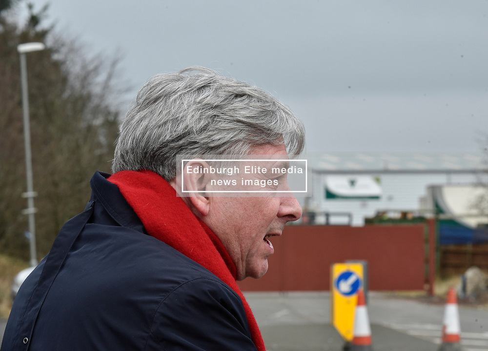 Pictured: Scottish Labour leader Richard Leonard met former workers outside the former headquarters.<br /> <br /> Former staff at collapsed Healthcare Environmental Services, which went into liquidation in December, rallied outside the company's former headquarters in Shotts, Lanarkshire to demand pay they say they are due. The firm hit the headlines last year after investigations found piles of clinical waste, including body parts, waiting to be disposed off, which led to a criminal investigation and the company losing many of it's contracts with health boards.<br /> <br /> © Dave Johnston / EEm