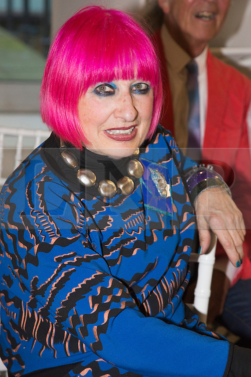 © Licensed to London News Pictures. 03/06/2015. London, UK. Fashion designer Dame Zandra Rhodes at the Royal College of Art (RCA) MA Fashion graduate fashion show.  Photo credit : Bettina Strenske/LNP