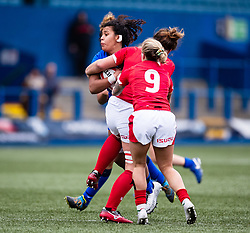 Giada Franco of Italy is tackled by Siwan Lillicrap of Wales<br /> <br /> Photographer Simon King/Replay Images<br /> <br /> Six Nations Round 1 - Wales Women v Italy Women - Saturday 2nd February 2020 - Cardiff Arms Park - Cardiff<br /> <br /> World Copyright © Replay Images . All rights reserved. info@replayimages.co.uk - http://replayimages.co.uk