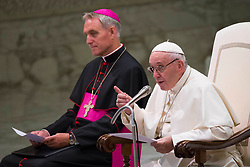 Pope Francis leads his traditional Wednesday General Audience in the Paul VI Audience Hall in Vatican City on August 22, 2018. 22 Aug 2018 Pictured: Pope Francis speaks during his Wednesday General Audience in the Paul VI Audience Hall in Vatican City on August 22, 2018. Photo credit: Stefano Costantino / MEGA TheMegaAgency.com +1 888 505 6342