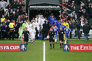 Referee Jonathan Moss leading out both teams from the tunnel. The Emirates FA cup, 4th round match, MK Dons v Chelsea at the Stadium MK in Milton Keynes on Sunday 31st January 2016.<br /> pic by John Patrick Fletcher, Andrew Orchard sports photography.
