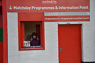 Programme stall during the The FA Cup 2nd round match between Swindon Town and Woking at the County Ground, Swindon, England on 2 December 2018.