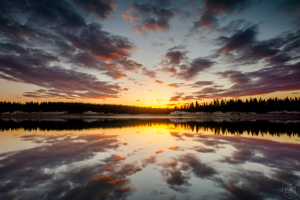 """""""Sunset at Boca Reservoir 7"""" - Photograph of an explosive sunset at Boca Reservoir in Truckee, California."""