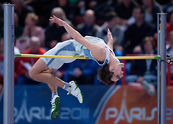ROZLE PREZELJ (SLOVENIA) COMPETES IN MEN'S HIGH JUMP QUALIFICATION DURING EUROPEAN ATHLETICS INDOOR CHAMPIONSHIPS PARIS 2011 AT BERCY HALL...PARIS , FRANCE , MARCH 04, 2011..( PHOTO BY ADAM NURKIEWICZ / MEDIASPORT )..PICTURE ALSO AVAIBLE IN RAW OR TIFF FORMAT ON SPECIAL REQUEST.