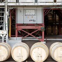 South America, Chile, Santiago. Wine barrels at Santa Rita Winery.