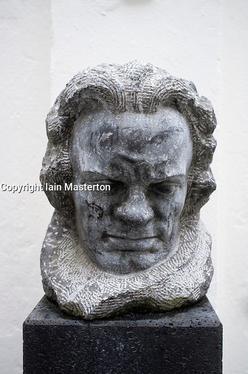 Bust of the composer at Beethoven Museum in house where composer was born in Bonn Germany