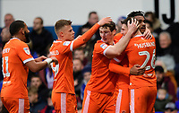 Blackpool's Joe Nuttall, right, celebrates scoring his side's equalising goal to make the score 1-1<br /> <br /> Photographer Chris Vaughan/CameraSport<br /> <br /> The EFL Sky Bet League One - Ipswich Town v Blackpool - Saturday 23rd November 2019 - Portman Road - Ipswich<br /> <br /> World Copyright © 2019 CameraSport. All rights reserved. 43 Linden Ave. Countesthorpe. Leicester. England. LE8 5PG - Tel: +44 (0) 116 277 4147 - admin@camerasport.com - www.camerasport.com