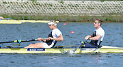 Reading. United Kingdom. GBR M2-, Bow. George NASH and Andy TWIGGS HODGE morning time trial, Redgrave and Pinsent Rowing Lake. Caversham.<br /> <br /> 11:05:34  Saturday  19/04/2014<br /> <br />  [Mandatory Credit: Peter Spurrier/Intersport<br /> Images]