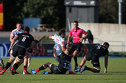 Facundo Cordero of Exeter Chiefs is tackled by Harry Sloan of Saracens - Mandatory by-line: Arron Gent/JMP - 13/09/2020 - RUGBY - Allianz Park - London, England - Saracens v Exeter Chiefs - Gallagher Premiership Rugby