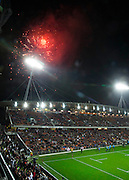 Fireworks before the third rugby test between the All Blacks and England played at Waikato Stadium in Hamilton during the Steinlager Series - All Blacks v England, Hamiton, 21 June 2014<br /> www.photosport.co.nz