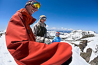 Group of skiers laughing at Kirkwood ski resort near Lake Tahoe, CA.<br />