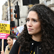 Malia Bouattia join the United Families and Friends Campaign (UFFC) 20th Anniversary Procession march to Downing Street demand ask demand justice for their love one killed by polices on 27 October 2018, London, UK.