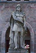 SPAIN, NORTH, ASTURIAS Covadonga Basilica, Pelayo statue