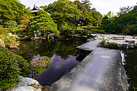 Banna-ji Temple Pond Garden -  the main temple building of Banna-ji Temple was originally built from the ruins of the Ashikaga Clan residence. It was later rebuilt in 1299. Constructed in the traditional Zen architectural style of the Kamakura Period. The temple grounds are enclosed within a moat and earthen walls, retaining the 40,000 square metres of its original samurai domain. The precincts are open as a public park, with cherry trees and even a large 600 years old gingko tree. It was designated a National Historic Site in 1922 and the Main Hall was made the National Treasure in 2013. Apart from temple buildings, there are gardens and objects of art.