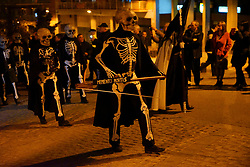 Participants at the Easter Procession wearing Skeletons Costumes, Manresa, Catalonia, Spain