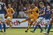 Chris Zebroski of Newport shoots for goal, under pressure from Matt Lund. Skybet football league two match, Newport county v Rochdale at Rodney Parade in Newport, South Wales on Saturday 3rd May 2014.<br /> pic by Mark Hawkins, Andrew Orchard sports photography.