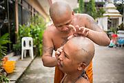 27 NOVEMBER 2012 - BANGKOK THAILAND: One monk shaves another at Wat Sri Boonreung on Klong Saen Saeb in Bangkok, Thailand.       PHOTO BY JACK KURTZ