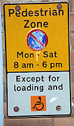 Pedestrian Zone parking restriction sign