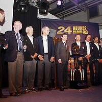 (L-r) 2. Don Panoz, 5. Pierre Fillon (President of ACO), 6. Tom Kristensen, 7. Frank Biela, 8. Emmanual Pirro, 9. Henri Pescarolo, 10. Jacky Ickx at the Press Conference at Le Mans 24H 2013