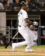 CHICAGO - SEPTEMBER 25:  Tim Anderson #7 of the Chicago White Sox singles against the Cleveland Indians on September 25, 2019 at Guaranteed Rate Field in Chicago, Illinois.  (Photo by Ron Vesely)  Subject:   Tim Anderson