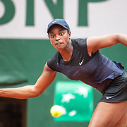 PARIS, FRANCE June 3.  Sloane Stephens of the United States in action against Karolina Pliskova of the Czech Republic on Court Philippe-Chatrier during the second round of the singles competition at the 2021 French Open Tennis Tournament at Roland Garros on June 3rd 2021 in Paris, France. (Photo by Tim Clayton/Corbis via Getty Images)