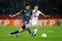 FOOTBALL - FRENCH LEAGUE CUP 2012/2013 - 1/8 FINAL - PARIS SAINT GERMAIN v OLYMPIQUE MARSEILLE - 31/10/2012 - PHOTO JEAN MARIE HERVIO / REGAMEDIA / DPPI - JAVIER PASTORE (PSG) / BENOIT CHEYROU (OM)