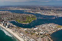 Aerial view of San Diego Bay and the city of San Diego.