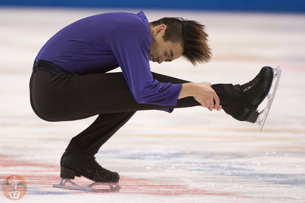 January 4, 2018; San Jose, CA, USA; Kevin Shum performs in the mens short program during the 2018 U.S. Figure Skating Championships at SAP Center.