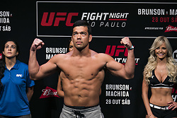 October 27, 2017 - Sao Paulo, Sao Paulo, Brazil - Oct, 2017 - Sao Paulo, Sao Paulo, Brazil - The Brazilian UFC fighter LYOTO MACHIDA during official weigh-in, this Friday (27), at the Gymnasium of Ibirapuera in the city of São Paulo. The venue will stage their fight against American DEREK BRUNSON during UFC Sao Paulo Fight Night on Saturday (28) (Credit Image: © Marcelo Chello/CJPress via ZUMA Wire)