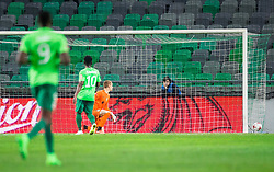 Rok Vodisek of NK Olimpija looking at the ball when Rifet Kapic of Gorica scoring first goal for Gorica during football match between NK Olimpija Ljubljana and ND Gorica in Round #26 of Prva liga Telekom Slovenije 2016/17, on March 29, 2017 in SRC Stozice, Ljubljana, Slovenia. Photo by Vid Ponikvar / Sportida