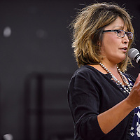Sandra Jeff answers questions from the Gallup McKinley County Schools board members during a meeting at Crownpoint Elementary School Tuesday.