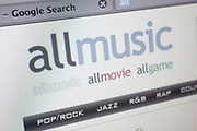 Computer screen showing the website for music information and shopping site, All Music