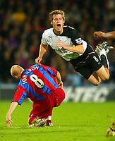 Fotball<br /> Premier League England 2004/2005<br /> Foto: BPI/Digitalsport<br /> NORWAY ONLY<br /> <br /> Crystal Palace v Fulham<br /> FA Barclays Premiership. 04/10/2004.<br /> <br /> Andy Johnson of Crystal Palace dives in on Brian McBride
