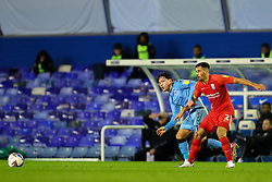 Callum O'Hare of Coventry City watches his pass infield, as Birmingham City's Maxime Colin looks on - Mandatory by-line: Nick Browning/JMP - 20/11/2020 - FOOTBALL - St Andrews - Birmingham, England - Coventry City v Birmingham City - Sky Bet Championship