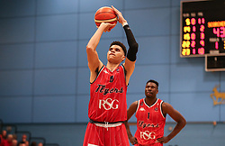 Tevin Falzon of Bristol Flyers shoots a free throw - Photo mandatory by-line: Arron Gent/JMP - 28/04/2019 - BASKETBALL - Surrey Sports Park - Guildford, England - Surrey Scorchers v Bristol Flyers - British Basketball League Championship
