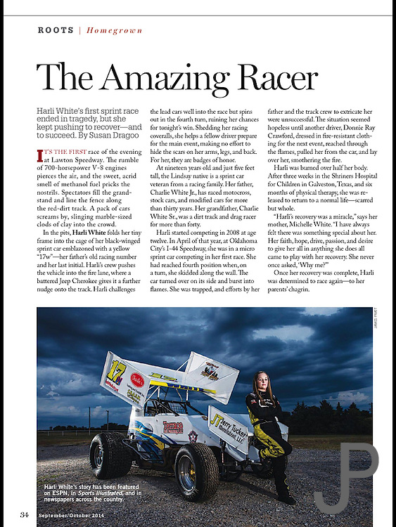 Photo of sprint car racer Harli White with her race car. Story by Susan Dragoo. Featured in Sept/Oct 2014 Oklahoma Today.