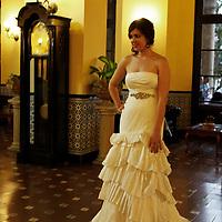 Central America, Cuba, Havana. Bride in lobby of Hotel Nacional de Cuba.