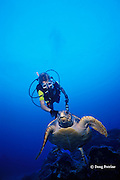 young diver encounters loggerhead sea turtle, Caretta caretta, Flower Garden Banks National Marine Sanctuary, off the coast of Texas, USA ( Gulf of Mexico ) MR 227