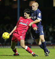 Fotball<br /> England 2004/2005<br /> Foto: SBI/Digitalsport<br /> NORWAY ONLY<br /> <br /> LDV Vans trophy Area Semi Finals.<br /> Southend v Swindon<br /> Roots Hall.<br /> 25/01/2005<br /> Swindon's Rory Fallon is tackled by Southend's Adam Barrett