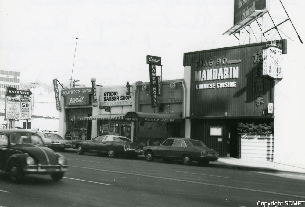 1972 Stores and restaurant on Highland Ave, just north of Hollywood Blvd.