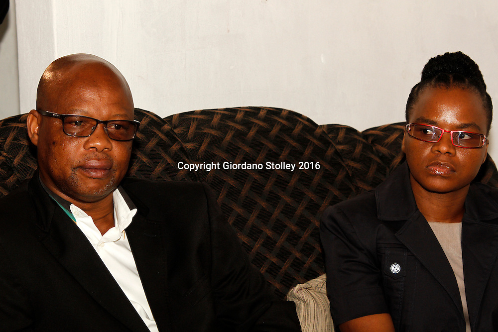 INCHANGA - 4 February 2016 - The African National Congress's provincial secretary Super Zuma and the SA Communist party's provincial treasurer Nomarashiya Caluza sit in the house of a a slain ANC member where the leadership of the two parties had come to apologise to the family. Tensions between the ANC and its traditional partners, the SACP, have been high in the area, with SACP members accusing the ANC of preventing them from participating in nominations for the upcoming local government elections. Dladla who had been nominated as a potential candidate for the ANC was gunned down outside his home in Fredville, Inchanga. Picture: Allied Picture Press/APP