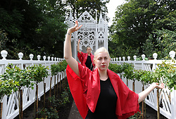 A rehearsal of Pablo Bronstein's ballet The Rose Walk is performed by classically trained dancers Rosalie Wahlfrid (front) and Emilia Gasiorek at the Jupiter Artland in West Lothian, which was commissioned for this year's Edinburgh Art Festival.