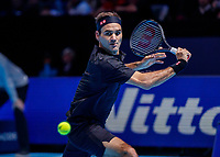 Tennis - 2019 Nitto ATP Finals at The O2 - Day Seven<br /> <br /> Semi Finals: Stefanos Tsitsipas (Greece) Vs. Roger Federer (Switzerland) <br /> <br /> Roger Federer (Switzerland) with a backhand return<br /> <br /> COLORSPORT/DANIEL BEARHAM<br /> <br /> COLORSPORT/DANIEL BEARHAM