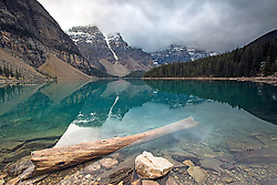 Stormy day at Moraine Lake and the Valley of the Ten Peaks, in Banff National Park.  I was thankful the stormy hadn't yet disrupted the reflection