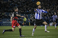 Atdhe Nuhiu (Sheffield Wednesday) goes to control the ball while on the edge of the QPR box during the Sky Bet Championship match between Sheffield Wednesday and Queens Park Rangers at Hillsborough, Sheffield, England on 23 February 2016. Photo by Mark P Doherty.