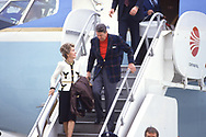 President Ronald Reagan and first Lady Nancy Reagan arrive in Los Angeles in January 1986<br /><br />Photograph ny Dennis Brack. bb78